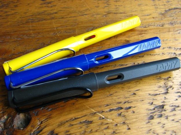 Lamy Safaris in Yellow, Blue and Charcoal Black