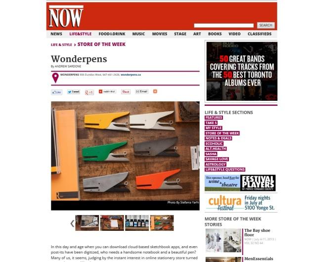 Wonder Pens in NOW Toronto - July 2013