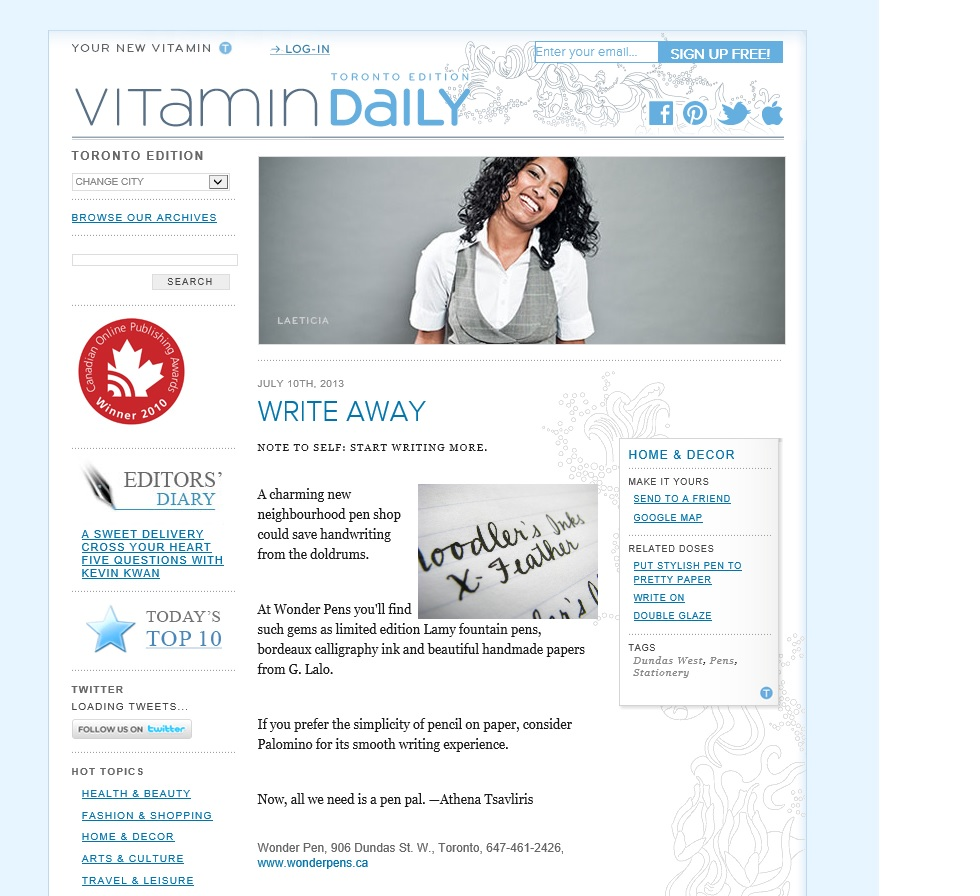 Wonder Pens in Vitamin Daily - July 2013