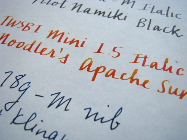 TWSBI Mini Italic 1.5 Nib and Noodler's Apache Sunset Writing Sample