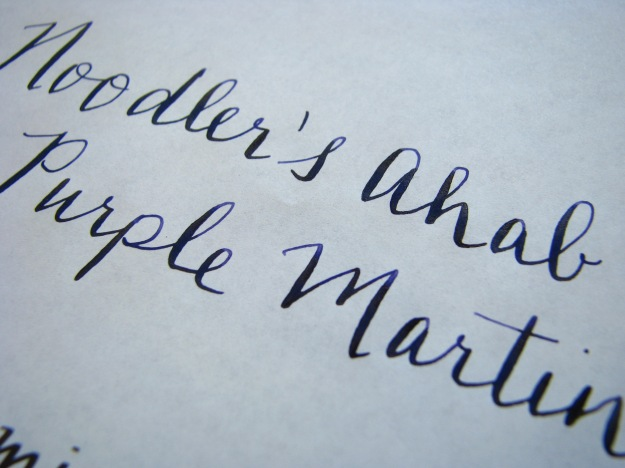 Close-up of writing sample of flex nib on Tomoe River Paper