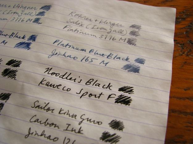Close-up of water-tested waterproof fountain pen inks - Noodler's Black, Platinum Blue-Black, Rohrer & Klingner Salix