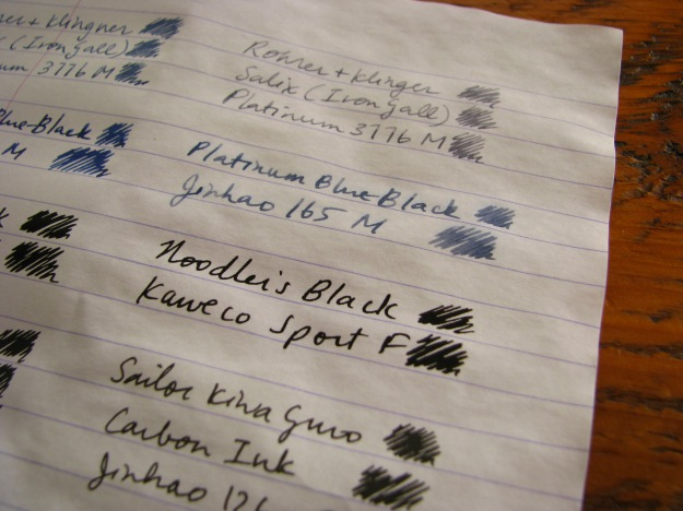 Close-up of water-tested waterproof fountain pen inks - Noodler's Black, Platinum Blue-Black, Rohrer & Klingner Salix