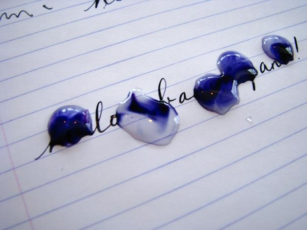Not waterproof inks blurring with water