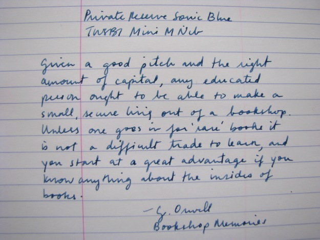 Writing Sample of Private Reserve Sonic Blue Classic Blue-Black Fountain Pen Ink