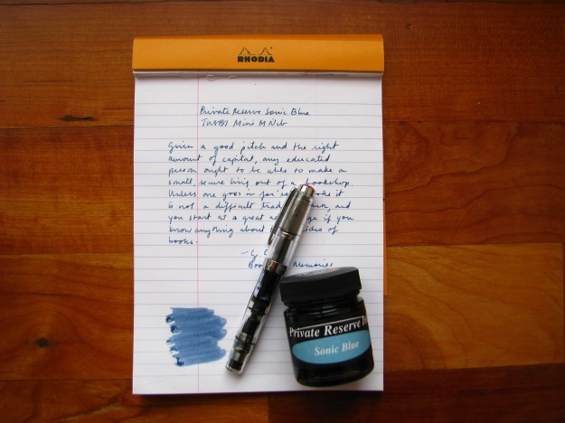 Review of Private Reserve Sonic Blue Fountain Pen Ink with a TWSBI Mini