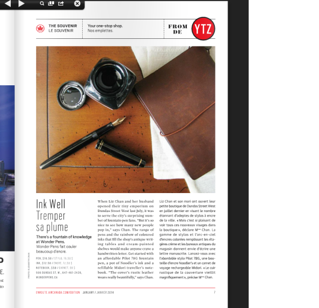 Wonder Pens Featured in enRoute Magazine
