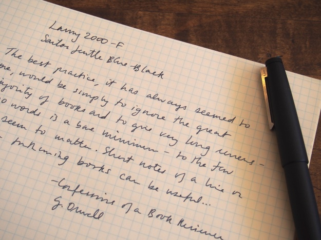 Writing Sample of Lamy 2000 Fountain Pen Fine Nib
