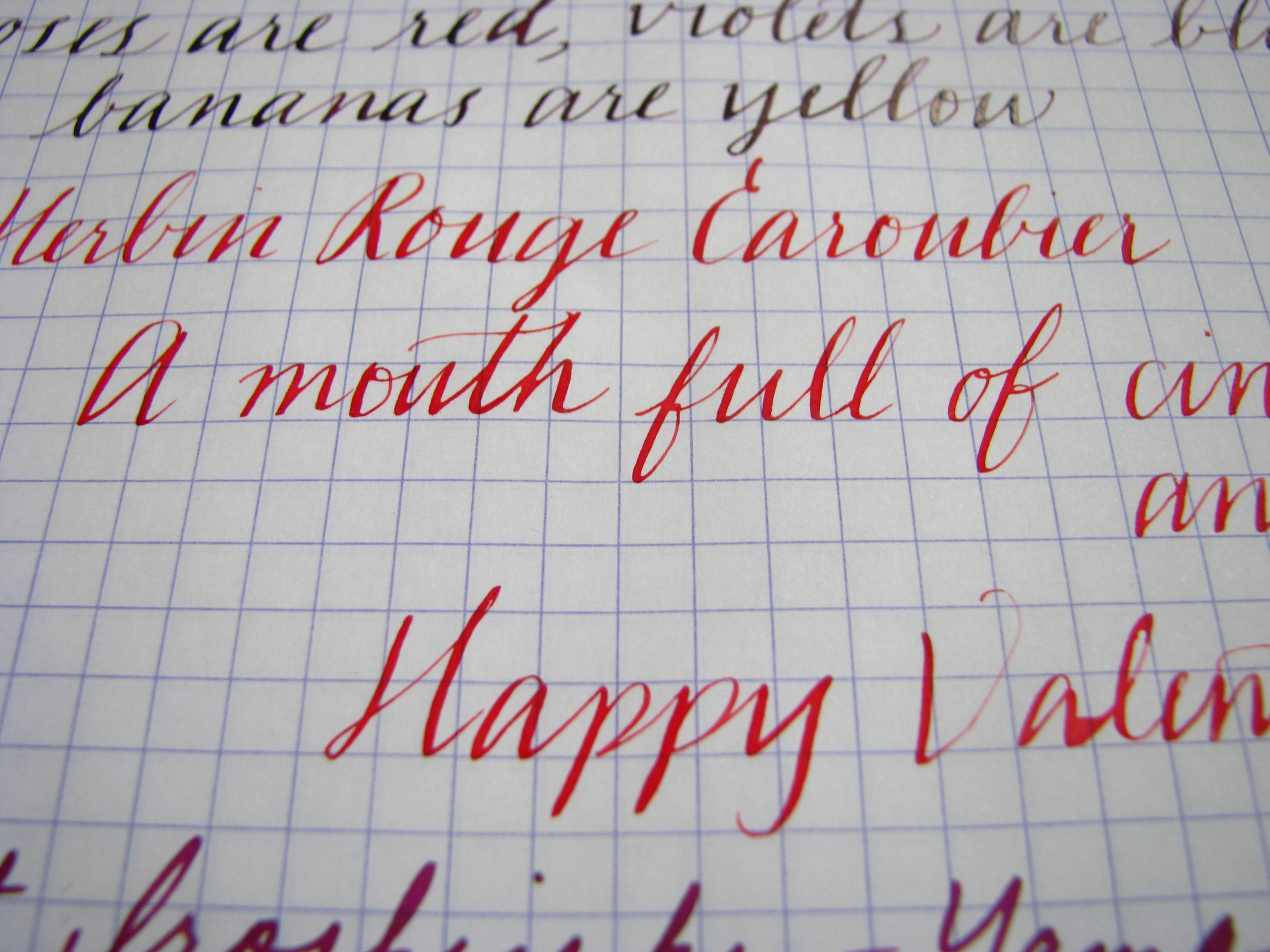 J. Herbin Rouge Caroubier Writing Sample at www.wonderpens.ca
