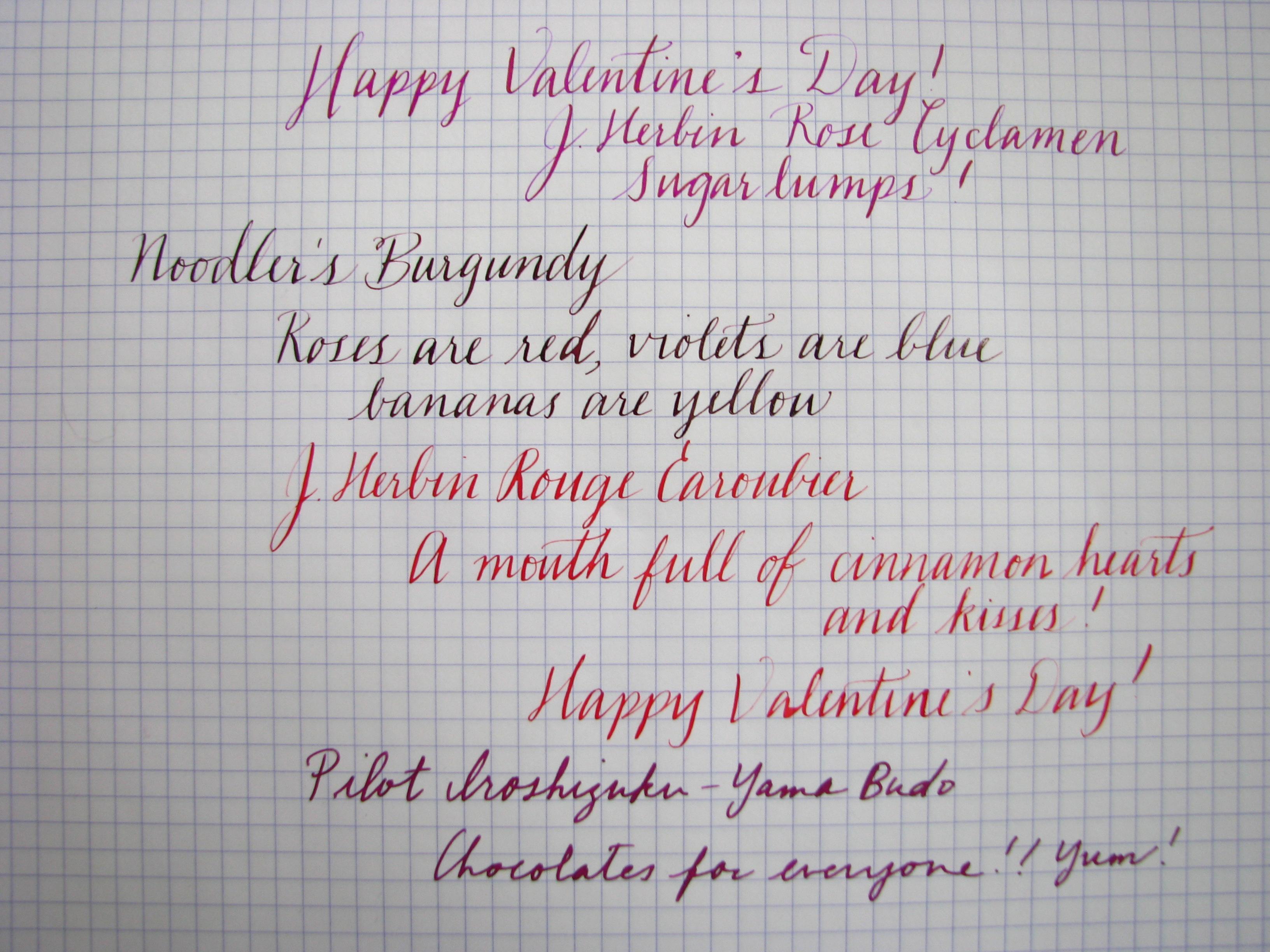 J. Herbin Rose Cyclamen, Noodler's Burgundy, J. Herbin Rouge Caroubier, Pilot Iroshizuku Yama-Budo Writing Samples at wonderpens.ca
