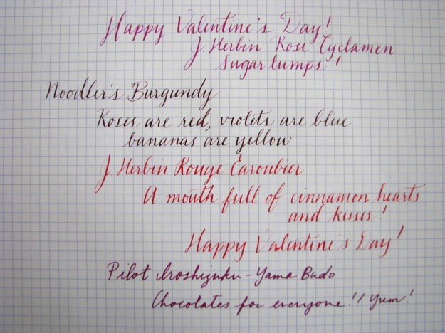 J. Herbin Rose Cyclamen, Noodler's Burgundy, J. Herbin Rouge Caroubier, Pilot Iroshizuku Yama-Budo Writing Samples at wonderpens.ca