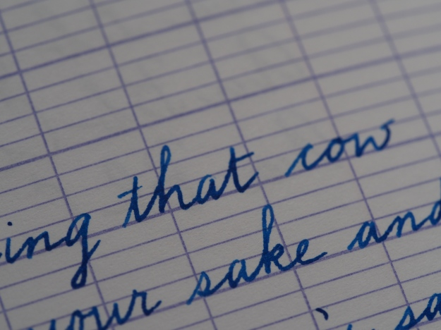How to write on Seyes or French ruled paper, handwriting sample