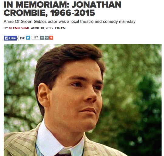 Jonathan Crombie - from NOW Online
