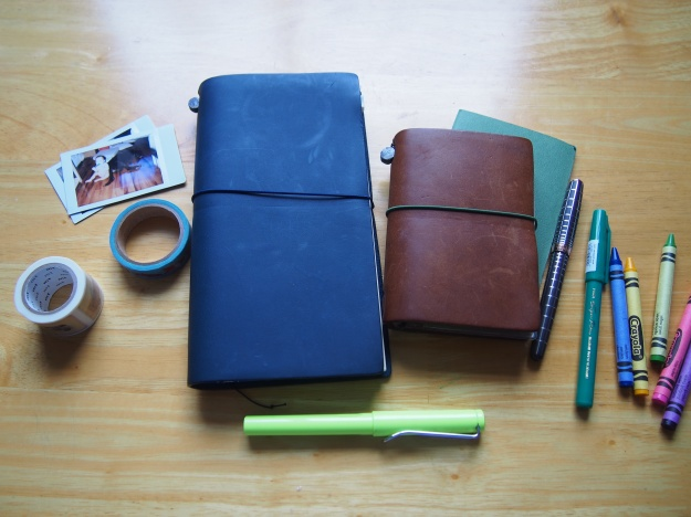 Blue Midori Regular Size Traveler's Notebook Set Up Passport Wonder Pens Blog wonderpens.ca Toronto Canada