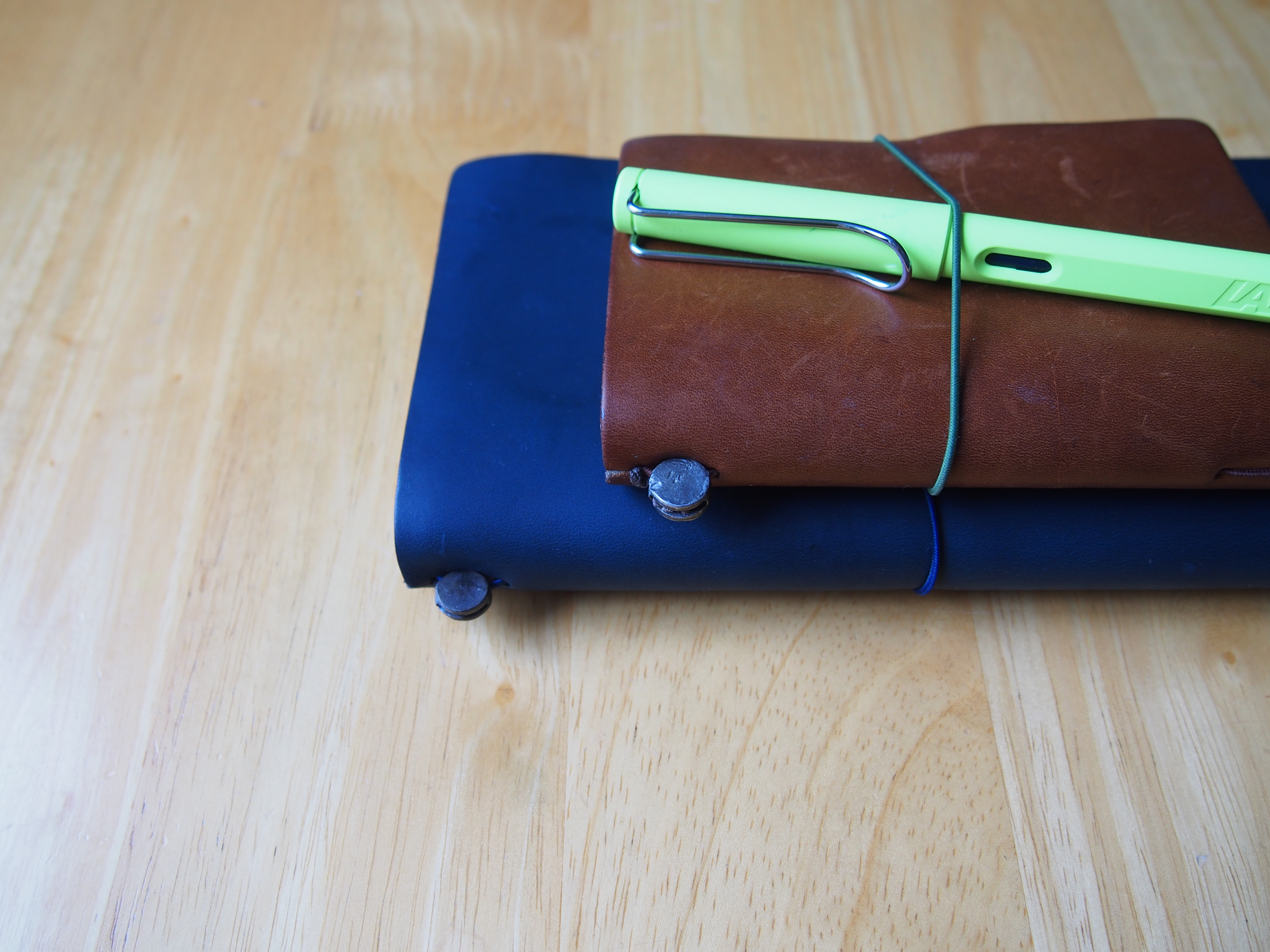 Midori Traveler's Notebook Set Up Regular Size Blue Edition Toronto Canada Wonderpens.ca Wonder Pens Blog