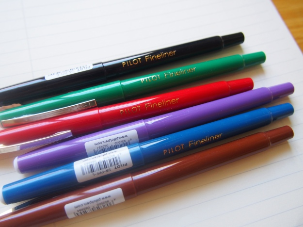 Pilot Fineliners Black Blue Green Red Purple Brown Toronto Canada Wonderpens.ca wonder pens blog