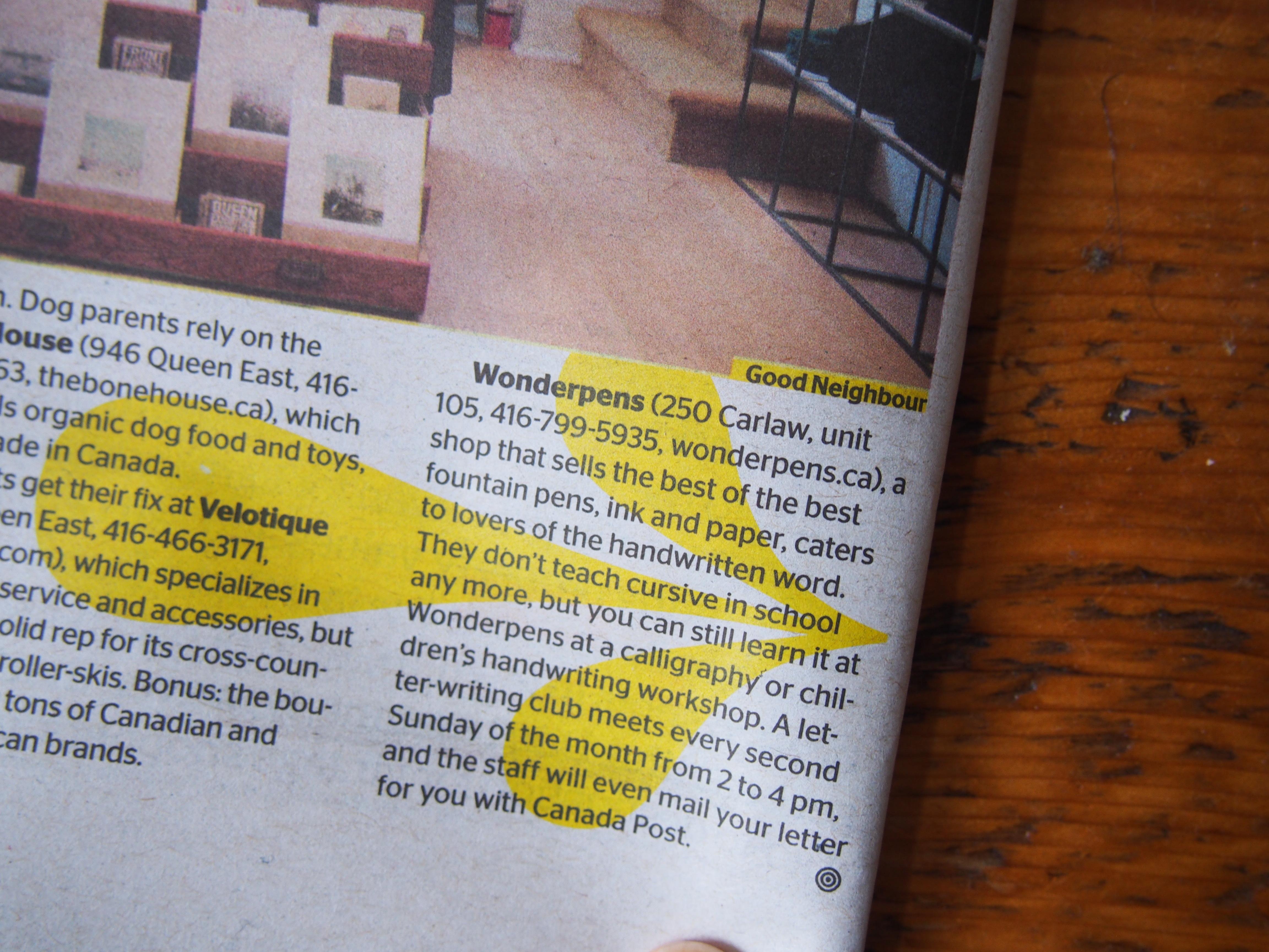 Wonder Pens in NOW! Magazine Toronto Canada