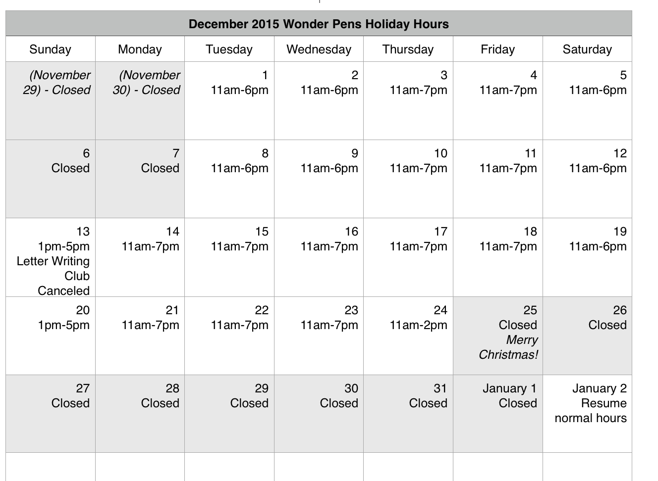 Holiday Hours Wonder Pens