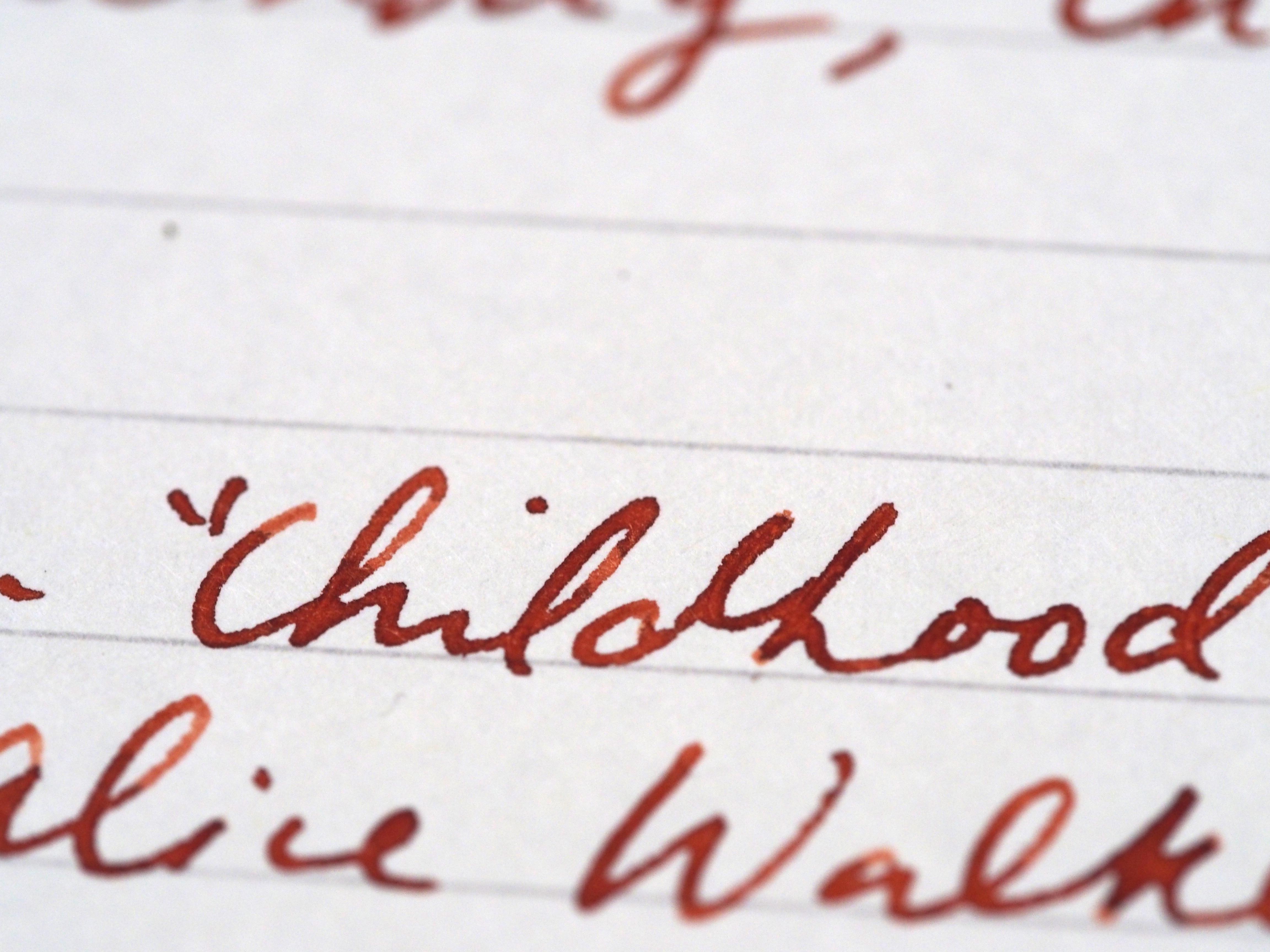 Diamine 150th Anniversary Terracottta  Shading Writing Sample Toronto Canada Wonder Pens