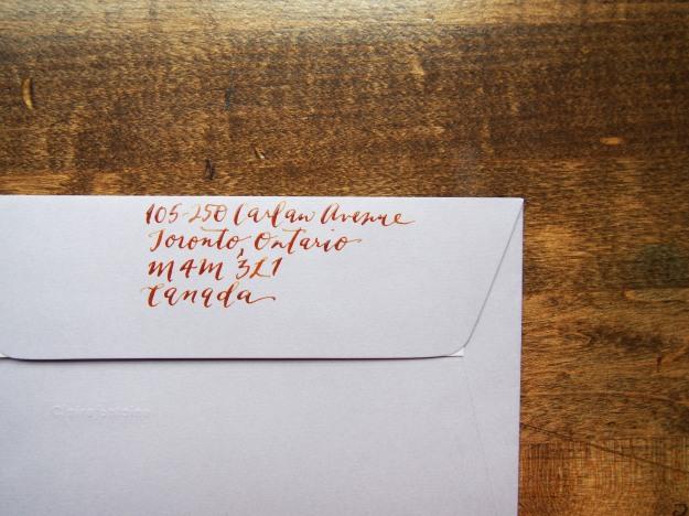 Calligraphy on Envelopes Wonder Pens Blog Toronto Canada