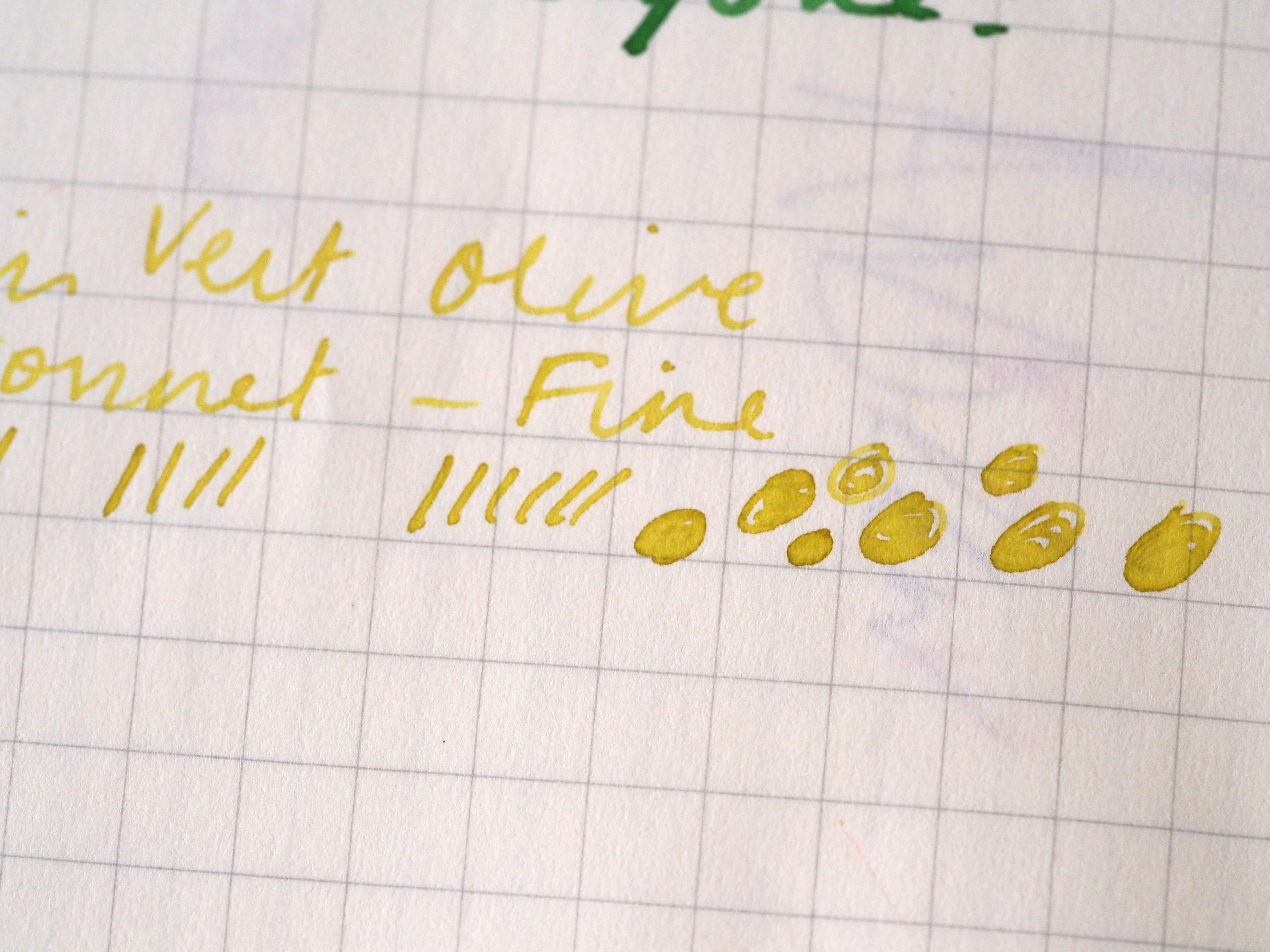 Writing Sample J. Herbin Vert Olive Parker Sonnet Fine Fountain Pen Toronto Canada Wonder Pens