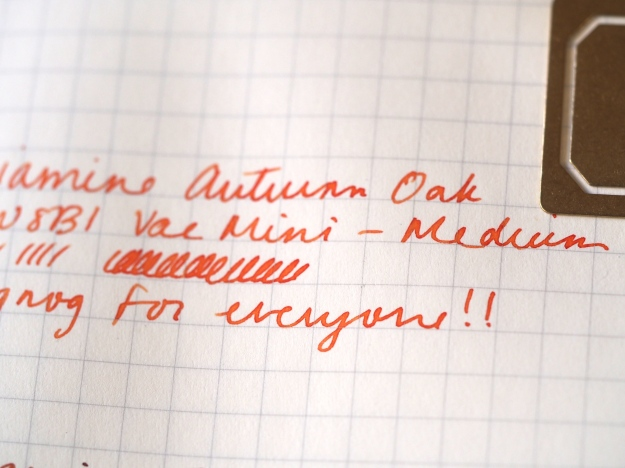 Writing sample Diamine Autumn Oak TWSBI Vac Mini Medium fountain pens Toronto Canada