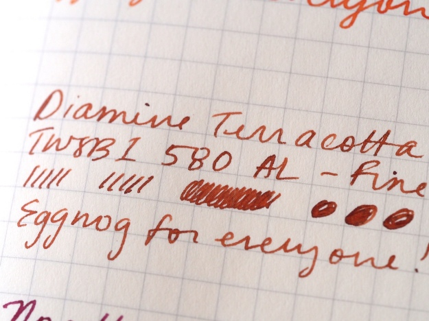 Writing sample Diamine Terracotta TWSBI 580 AL Fine