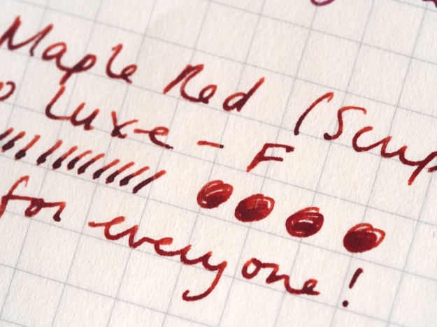 Writing sample KWZ Scriptus Pen Show Maple Red Kaweco Luxe Gold F nib