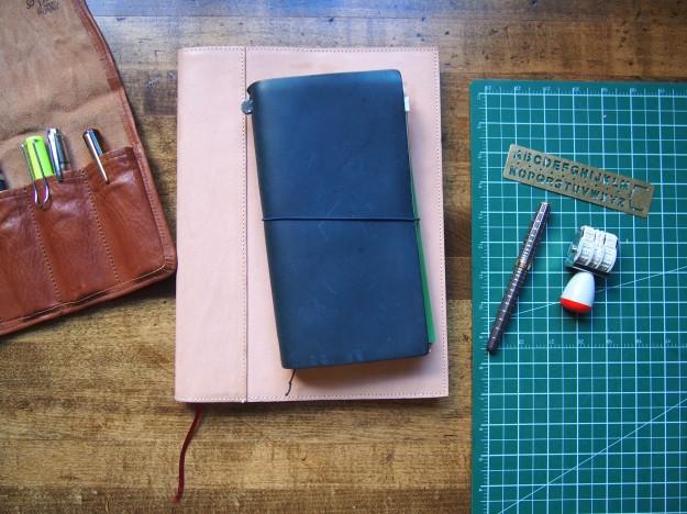 Traveler's Notebook on top, Midori A4 MD Notebook on bottom